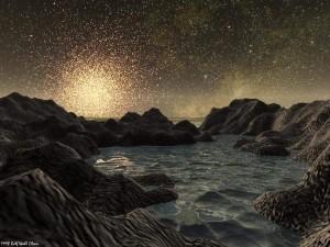 Un planeta en un cúmulo globular. Crédito: Rolf Wahl Olsen