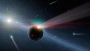 Concepto artístico de un planeta rocoso siendo bombardeado por cometas. Crédito: NASA/JPL-Caltech