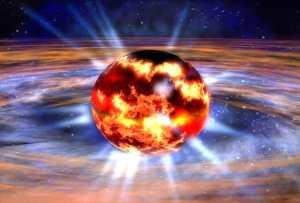 Concepto artístico de una estrella a punto de explotar (y dar paso a una supernova y una estrella de neutrones). Crédito: NASA/Dana Berry.
