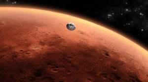 Concepto artístico del Mars Science Laboratory de la NASA llegando al planeta rojo. Crédito: NASA/JPL-Caltech