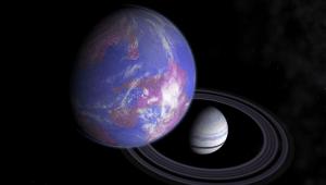 Concepto artístico de una exoluna similar a la Tierra alrededor de un planeta gaseoso. Crédito: Frizaven/Wikipedia