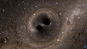 Dos agujeros negros orbitándose mutuamente antes de colisionar. Crédito: SXS/LIGO