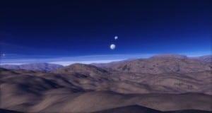 Un planeta terrestre con dos satélites a una distancia más cercana que la que separa la Luna de la Tierra. Crédito: Space Engine