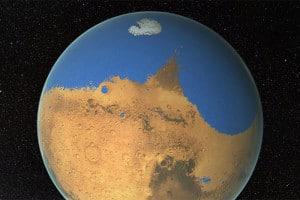Impresión artística de un primitivo océano en Marte, que algunos investigadores han sugerido que pudo tener más agua que el Océano Ártico en la Tierra. Crédito: NASA/GSFC