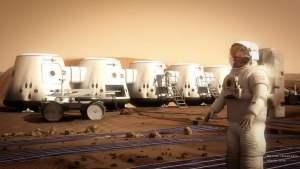 Concepto artístico de un astronauta en los alrededores del hábitat de Mars One. Crédiot: Bryan Versteeg/Mars One