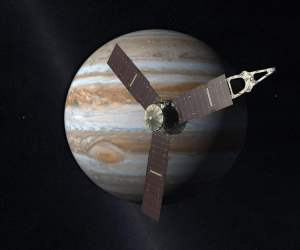 Concepto artístico de Juno acercándose a Júpiter. Crédito: NASA