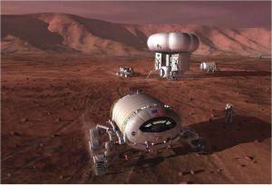 Concepto artístico de una colonia en Marte. Crédito: NASA/Pat Rawlings