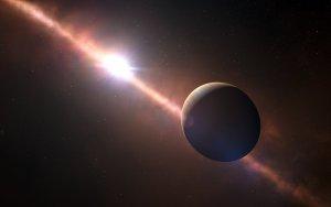 Concepto artístico de Beta Pictoris b y el disco de material que rodea a su estrella. Crédito: ESO/L. Calçada/N. Risinger