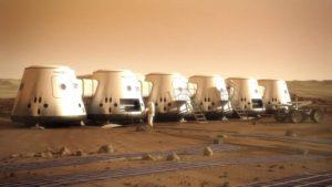 Concepto artístico de una colonia del proyecto Mars One en Marte.  Crédito: Mars One/Bryan Versteeg