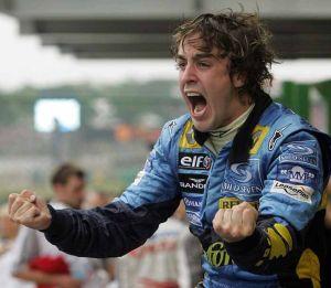 Fernando Alonso en la consecución de su primer título mundial en 2005.