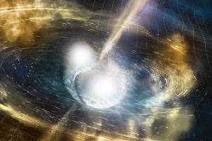 Concepto artístico del choque de estrellas de neutrones.