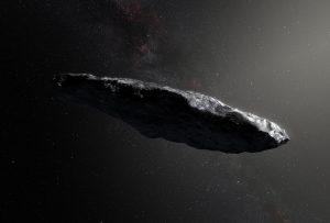 Concepto artístico del asteroide Oumuamua.