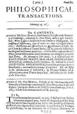 Eerste publicatie van Newton in de Philosophical Transactions