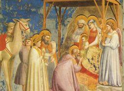 Giotto's ster van Bethlehem boven de kribbe