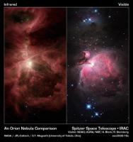 Links Spitzer's Oionnevel, rechts de 'gewone' visuele Orionnevel