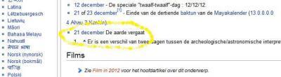 Wikipedia komt met de bevestiging: de Aarde vergaat 21 december 2012