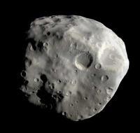 De zuidpool van de maan Epimetheus van Saturnus