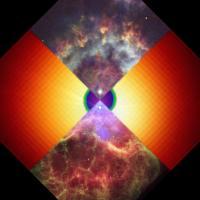 Model van een Super-AGB gecombineerd met een Hubblefoto van een planetaire nevel