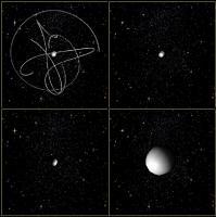 Animatie van de botsing van drie zwarte gaten
