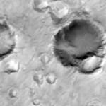 Een reeks kraters op Mars