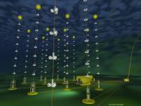 Schets van de voltooide Antares neutrino-telescoop