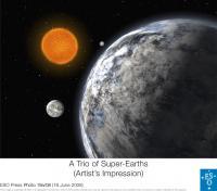 Een artistieke impressie van de drie super-aardes rondom HD 40307