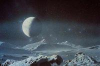 Charon gezien vanaf Pluto