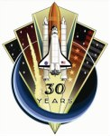 De winnende 'patch' van 30 jaar Space Shuttles