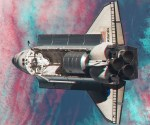 Atlantis' rendezvous pitch maneuver, eh… buikflip in 3D