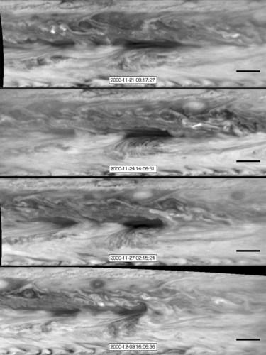 Foto's van een hot spot, gemaakt door Cassini in 2001