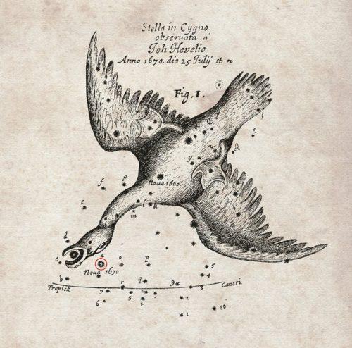 Deze kaart van de positie van de nova (rood omcirkeld) die in het jaar 1670 verscheen, is getekend door de beroemde astronoom Hevelius, en gepubliceerd in het tijdschrift Philosophical Transactionsvan de Britse Royal Society.