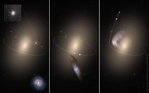 Bij de ontmoeting tussen twee sterrenstelsels kunnen eventueel aanwezige satellietstelsels met grote snelheid worden weggeslingerd. (ESA/Hubble; Andrey Zolotov)