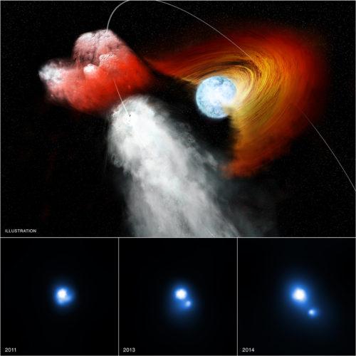 Impressie van de dubbelster B1259, waar een pulsar zich een weg baant door een platte schijf.