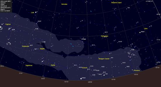 Kometi i Zmijonosac oko 5h jutro. Granična magnituda 6.0.