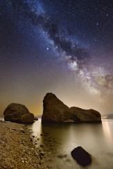 Plaža Beritnica na Pagu. Nikon D600, 14mm, f/2.8, ISO3200, 30s (nebo) + 120s (prednji plan).