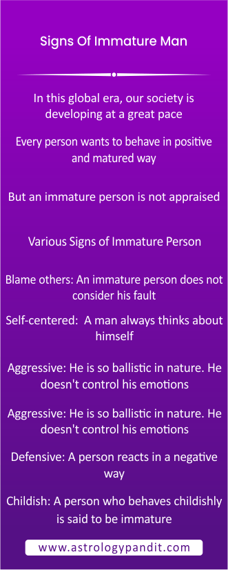 signs of immature men info graphic