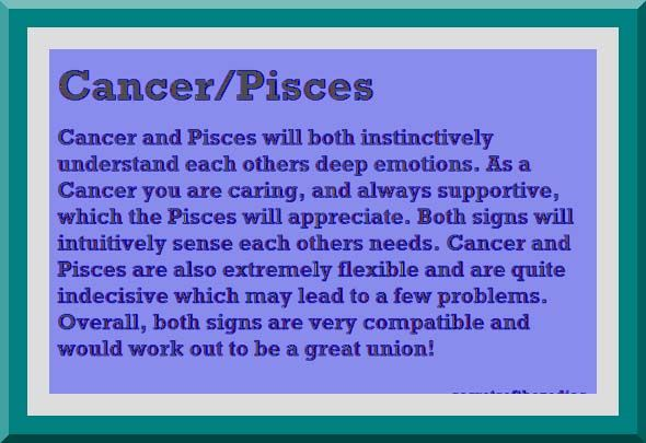 Pisces man Cancer woman compatibility in love online