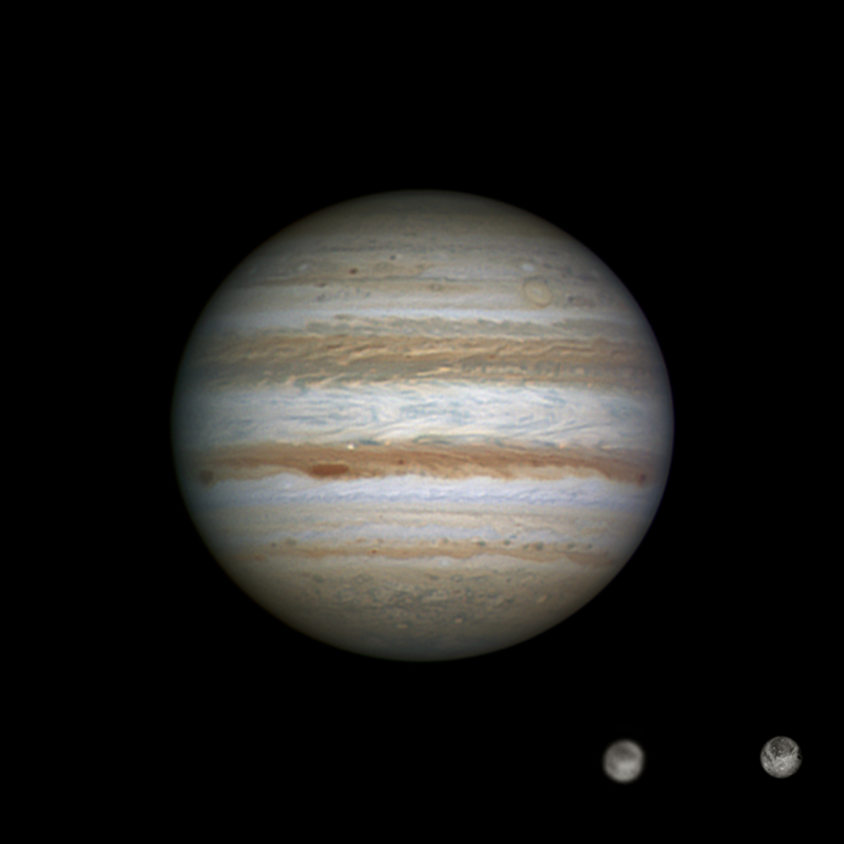 hight resolution of jupiter and ganymede in exquisite detail