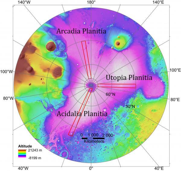 Area dataran utara yang diteliti untuk mengetahui lokasi es di Mars. Kredit: Planetary Science Institute
