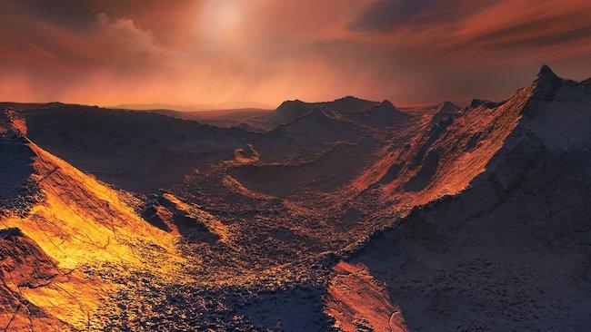 Ilustrasi permukaan eksoplanet Barnard b. Kredit: ESO/M. Kornmesser