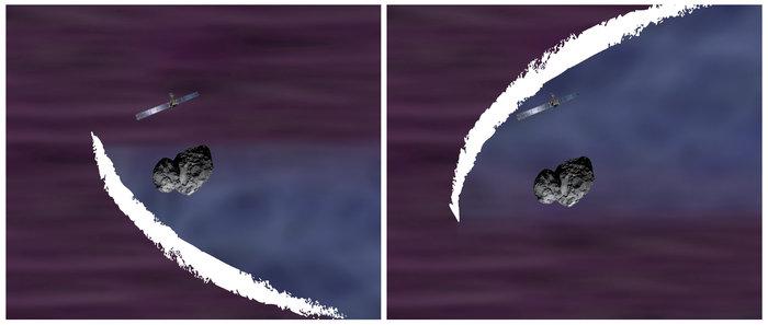 Ilustrasi Rosetta menyaksikan terbentuknya busur gelombang kejut di sekeliling komet 67P/Churyumov-Gerasimenko. Kredit: ESA