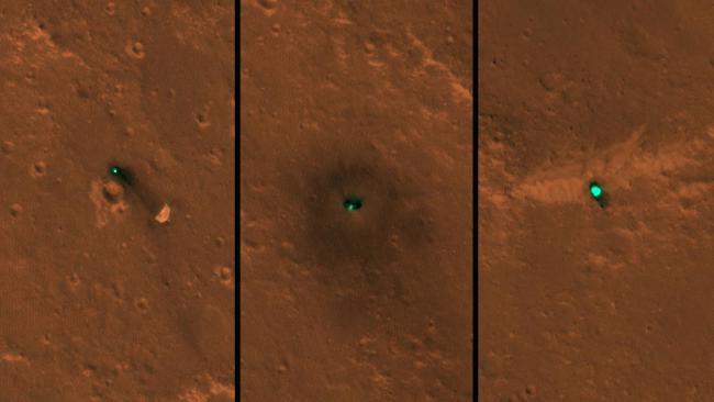 Gabungan citra yang diambil HiRISE kamera yang dipasang di MRO. Kiri: Parasut ; Tengah : wahana InSight ; Kanan: Pelindunga Panas InSight. Kredit: HiRISE/MRO/NASA