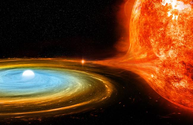 Pasangan bintang katai putih dan bintang raksasa merah. Kredit: NASA/CXC/M.Weiss