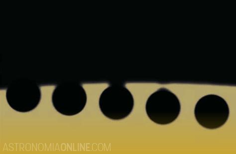 """El efecto de la """"gota negra"""", observado durante el contacto II del tránsito de Venus de junio de 2004. Créditos de la imagen: Juan Carlos Casado."""