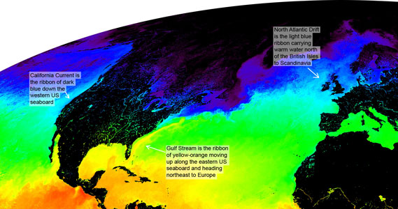 Ocean currents visible in sea temperature map from space