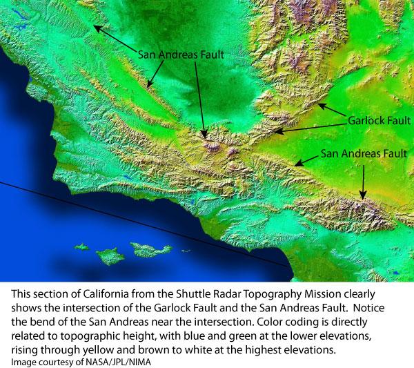 San Andreas + Garlock faults in California