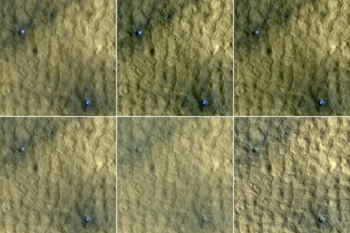 MRO sees ice uncovered at mid-latitudes by meteorite impacts