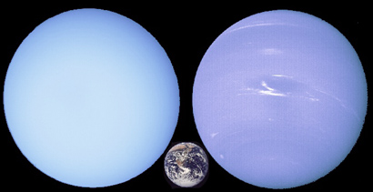 Uranus, Neptune, Earth to<br /> same scale