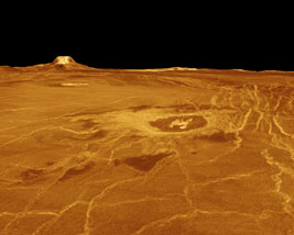 Eistla Regio with Cunitz Crater in foreground