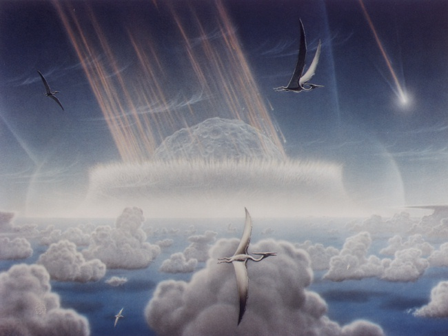 large asteroid hits the Earth 65 million years ago